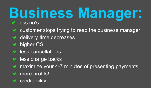 Benefits to business manager